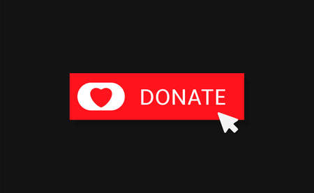 Voluntary and donation concept. Donate button icon. Red button with red heart symbol on black background