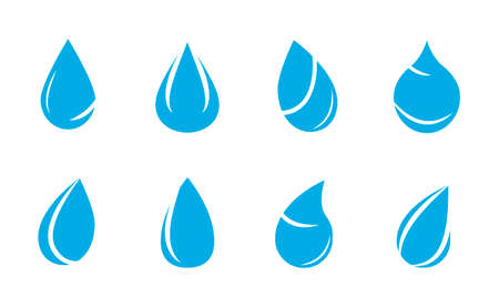 Blue drop icons. Various water drops with white lines, Vector
