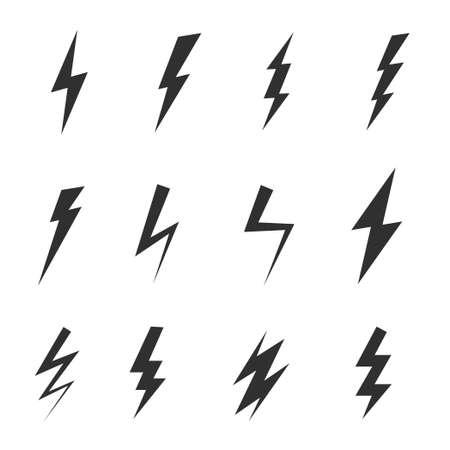 Orage d'icône simple ou coup de tonnerre et de foudre isolé