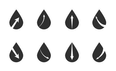 Set line Oil drop, Oil exchange, Barrel oil and Oil price increase icon. Vector Ilustración de vector