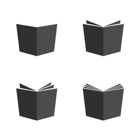 Open black book icons vector illustration sign design library  or education symbol