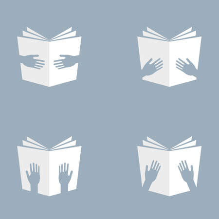 Open white hand hold books icons vector illustration sign design library or education symbol