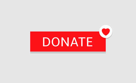 Voluntary and donation concept. Donate button icon. Red button with red heart symbol in the corner isolated on grey background  イラスト・ベクター素材