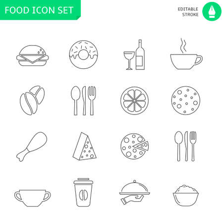 Thin line icons set. Icons for food and drink, restaurant, cafe and bar, food delivery. Editable stroke