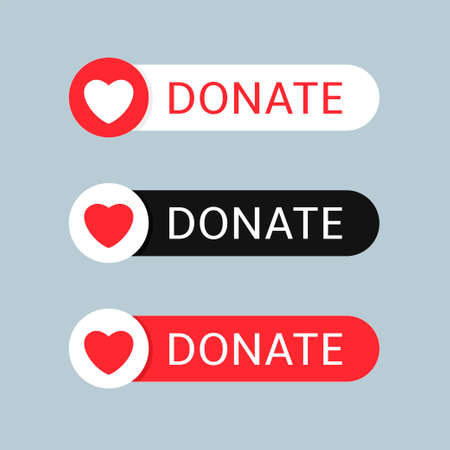 Voluntary and donation concept. Donate button icon set. White,black and red buttons with white and red heart symbol on grey background Ilustração