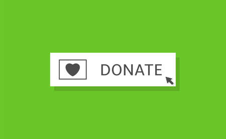 Voluntary and donation concept. Donate button icon. White button with black heart symbol on green background Ilustração