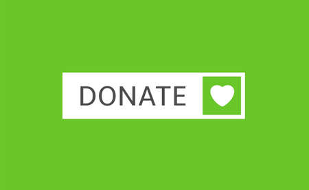 Voluntary and donation concept. Donate button icon. White button with white heart symbol on green background Ilustração