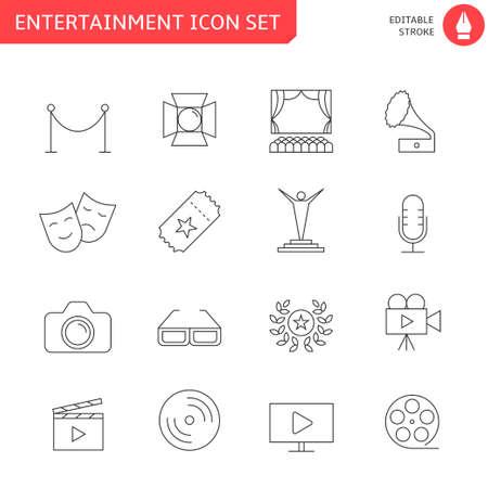 Entertainment icon set - outline icon collection, vector. Editable stroke