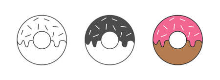 Flat Vector Outline Style Icon of Food Donut. Fast food