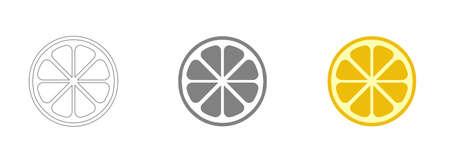 Modern simple flat vegetarian sign. Fresh Food, internet concept. Trendy lemon sign for web site