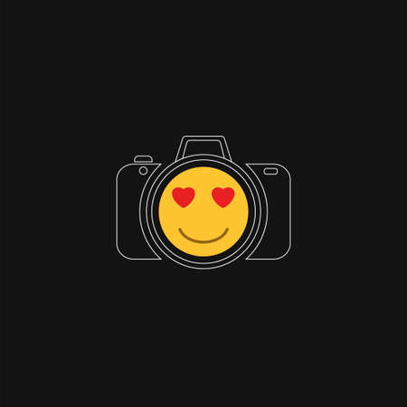 Beaming face smiling emoji with heart shaped eyes and camera on black background