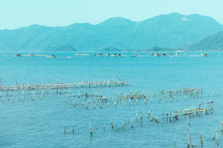 The bay and harbor at Vietnam. Beautiful view on blue sky and South China Sea, rocks