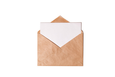 White card with kraft brown paper envelope template mock up. Top view, copy space for your text