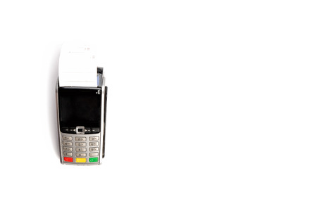Payment terminal isolated on white background. Point of Sale Terminal or POS with receipt. Copy space for your text