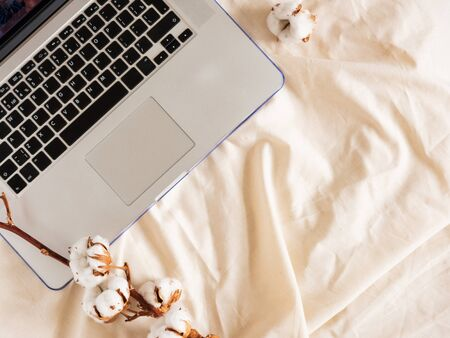 Laptop and Branch of cotton flower on a beige cloth. Texture background, copy space for text