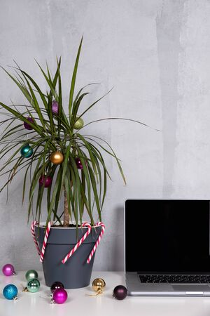 Christmas palm tree with ornaments. Office desk laptop with decoration, grey wall, white table