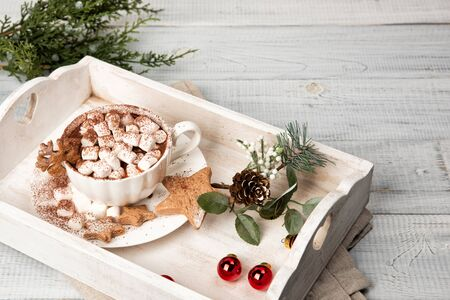 A cup of hot cocoa drink with homemade star-shaped gingerbread cookies on a light