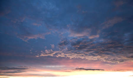 Beautiful blue and pink sky at dusk right after sunset.