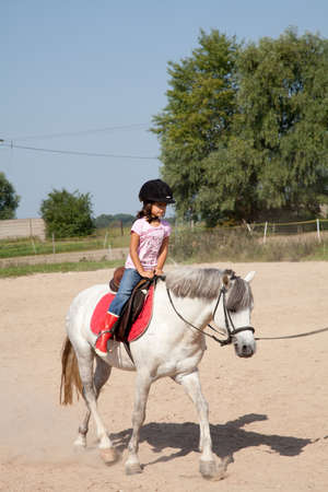 Little girl riding a horse and taking horse back riding lessons outdoors. 新闻类图片