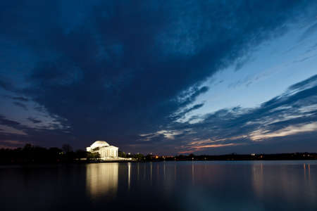 Thomas Jefferson Memorial with reflecting in the Tidal Basin in Washington DC at dusk shortly after sunset with dramatic skies Stock Photo - 12981674