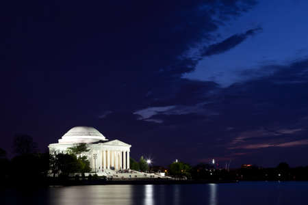 Thomas Jefferson Memorial with reflecting in the Tidal Basin in Washington DC at dusk shortly after sunset with dramatic skies Stock Photo - 12960401