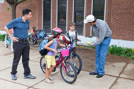 May 9, 2012 - Arlington, Virginia, USA - National Bike to School Day, Key School Escuela Key Elementary  Credit Image  © Dasha Rosato