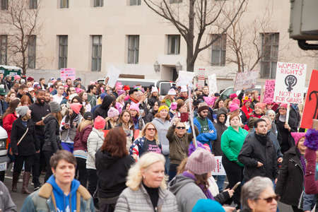 Women (and men) protested President Trumps positions on womens and other human rights.