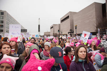 Crowds gathered on Independence Avenue to listen to the rally speakers in protest President Trumps positions on womens and other human rights.