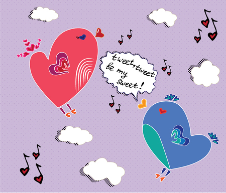 birdsong: vector picture with birds singing romantic song Illustration
