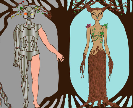 killing: illustration technology and people killing our nature and Earth ecology