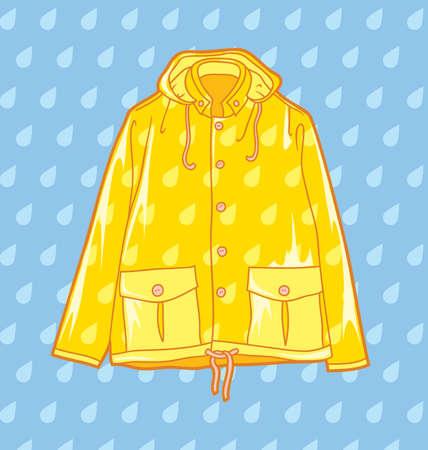 yellow raincoat on a light blue background Stock Illustratie