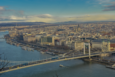 cityscape of Budapest and the Elisabeth bridge on the Danube river Stock Photo