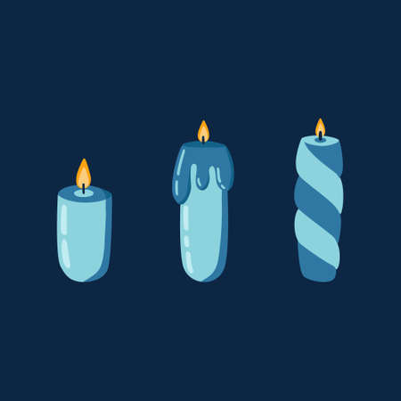 Set of candles with candlelight on dark background. Different aromatic candles for spa, aromatherapy in simple hand drawn style.Christmas, birthday, party, holiday illustration card, banner