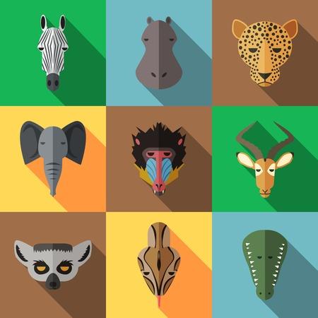 African Animal Portrait Set with Flat Design Illustration