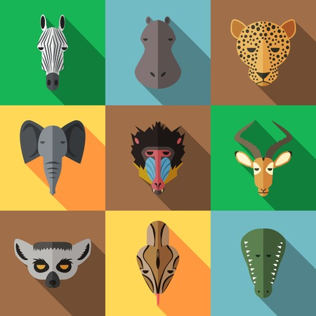 African Animal Portrait Set with Flat Design Illustration