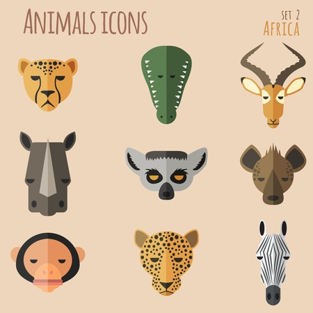 Animal Portrait Set with Flat Design  Vector Illustration Vector