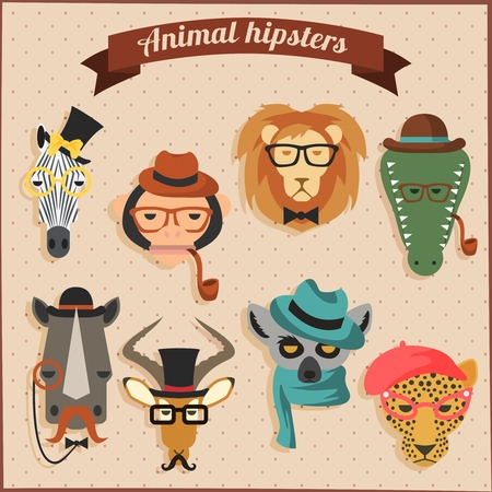 Cute fashion Hipster  African Animals set Vector