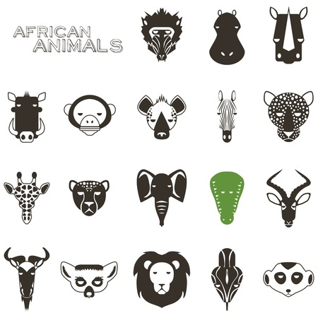 of antelope: African Animal Icons Portrait Set with Flat Design