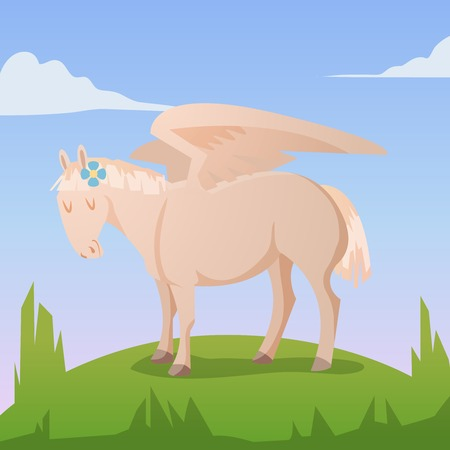 Cartoon magic pegasus on green grass Vector