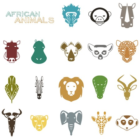 meerkat: African Animal Icons Portrait Set with Flat Design