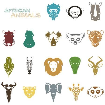 meerkat: African Animal Icons Portrait Set with Flat Design