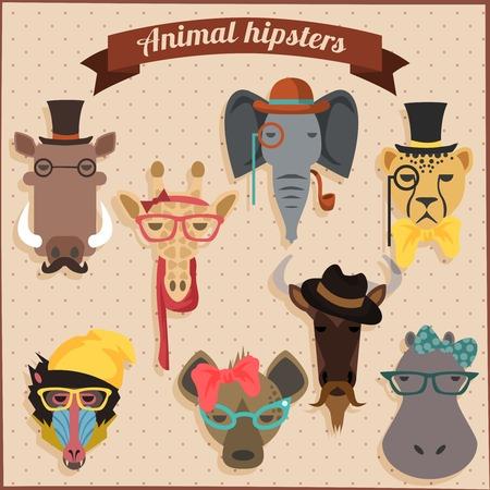 animales de la selva: Hipster lindo moda animales africanos conjunto Vectores