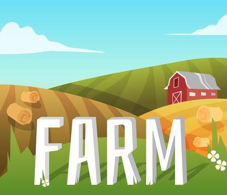 Farm landscape with fields and farmhouse   Vector