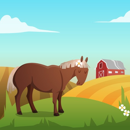 Cute horse, with landscape in background Vector