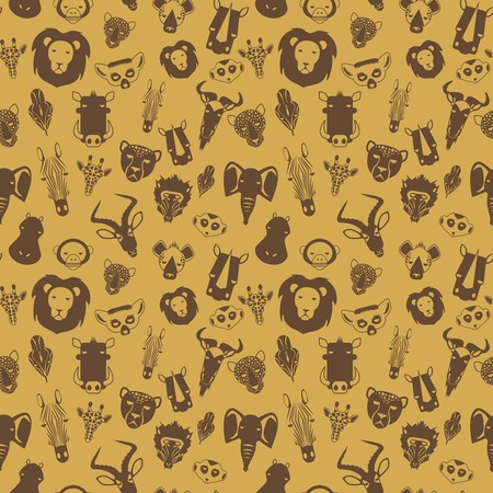 African Animals seamless pattern with flat drawings savannah animals Vector