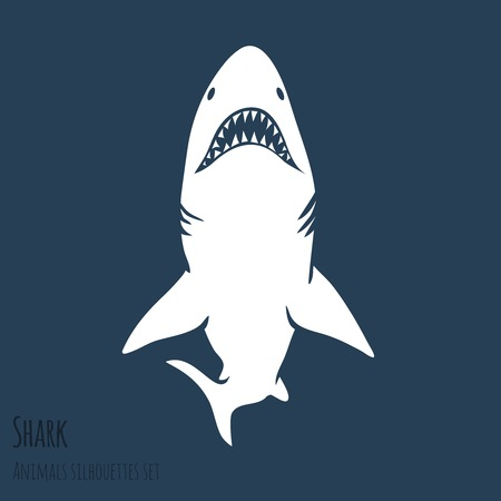Danger Shark silhouettes in the deep blue set  Vector Vector