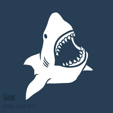 ディープ ブルーのセットで危険サメ シルエット  イラスト・ベクター素材