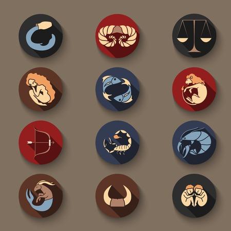 Set of zodiac round symbols  Vector