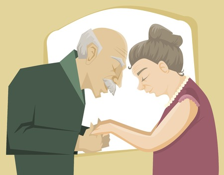 older woman smiling: Happy senior couple hold each other hands