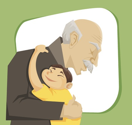 cartoon little girl: grandfather and grandchild gives each other family hugs
